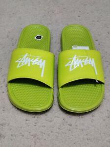 **NIB Nike X Stussy Benassi Slide Bright Cactus CW2787-300 US Men's Size 11**