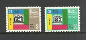 CEYLON SCOTT 396 -397 MH VF SET - 1966 UNESCO ISSUE   CAT $11.75
