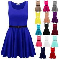 Women Skater Dress Belted Sleeveless Ladies Short  Party Franki Flared Top 8-14