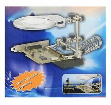 HELPING HAND MAGNIFIER with LED LIGHTS THIRD HAND SOLDERING STAND DUAL POWER