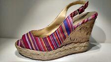 MONTEGO BAY CLUB Sz7m multi color canvas 5inch wedge heels
