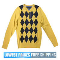 Tommy Hilfiger Men's NWT Yellow Argyle V Neck Sweater with Free Shipping