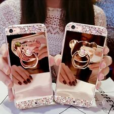 Crystal Diamond Ring Holder Stand Mirror Back Cover Case For Various Mobiles N