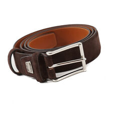 New $295 SANTONI Chocolate Brown Calf Suede Belt One Size/Adjustable Strap