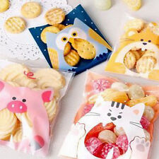 100x Animals Candy Cake Biscuits Cookies Bags Self-adhesive Plastic Gifts