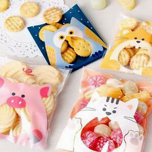 100X Animals Candy Cake Biscuits Cookies Bags Self-adhesive Plastic Gifts MDJ.zh