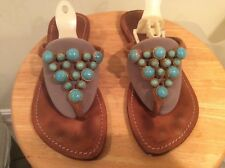 MYSTIQUE ROUND TURQUOISE TAN SUEDE LEATHER THONG FLAT SANDAL SZ 7 EUC