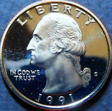 "> 1991-S  WASHINGTON ""PROOF"" QUARTER DOLLAR, UNC San Francisco Mint Coin, #3"