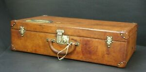Louis Vuitton 1920s Tan Leather Hide Travel Suitcase With Key