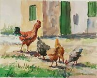 Watercolor Painting on Paper Chicken in Farmyard Signed E Eapoykoz Koz ARTIST?