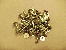 "Solid Brass Flat Head Rivets & Burrs 1/2"" 12 Gauge 1 Pound SCA"
