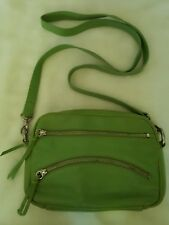 "LATICO NJ Green Leather ""Fern"" Crossbody Handbag Bag Pink Paisley Floral Lining"