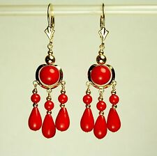 14k solid yellow gold chandelier natural red Coral earrings leverback 15.2 tcw