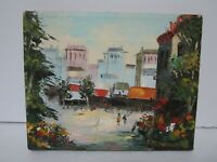 "Signed Frederick Small - original oil painting Parisian Street Scene 10"" x 8"" H"
