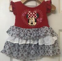 DISNEY BABY Minnie Mouse 12 Months Tutu Eyelet Dress Girl Clothes Red WDW EUC
