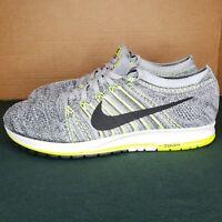 NEW Nike Flyknit Streak Size 10.5 Wolf Grey Black Volt Green Runner 835994-007