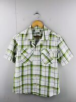 Kathmandu Men's Short Sleeved Button Up Casual Shirt Size M Green Check
