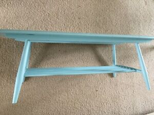 Vintage ERCOL Elm And Ash Coffee Table With Magazine Rack For Refurbishment
