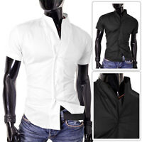 Mens Short Sleeve Shirt Black White Stand Up Collar Slim Fit Stretchy Cotton
