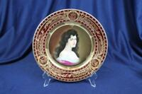 "ROYAL VIENNA 9-1/4"" PORTRAIT CABINET PLATE LADY AMOROSA HEAVY GOLD  BEE HIVE"