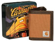 CARHARTT Trifold Passcase ID & Card WALLET Canvas Duck Brown *Rugged & Durable