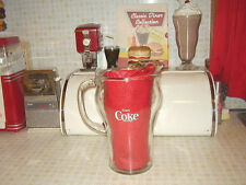 Vintage Clear Heavy Glass Coca Cola Pitcher W/ Ribbed Handle  & Ice Lip