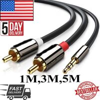 Audio Cable 2 RCA to 3.5 Audio Car Cable for Amplifier Phone Headphone Speaker