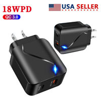 2in1 USB A & 18W PD Type C Fast Wall Charger Adapter For iPhone Samsung Macbook