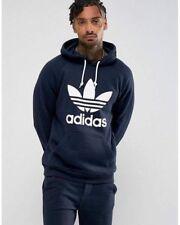 Adidas Original Men's TREFOIL HOODIE Jumper Sweat Retro Pullover Fleece S M L XL