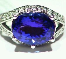 7.42CT 14K Gold Natural Tanzanite Cut White Diamond Vintage AAA Engagement Ring