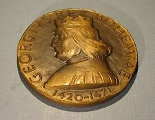 Bronze Medal King of Bohemia George Podebrady Jan Hus Zizka Czech Hussite Wars