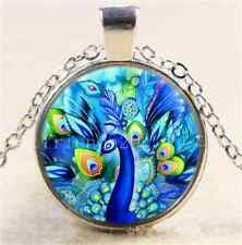 Tibet Silver Chain Pendant Necklace Peacock in Full Bloom Cabochon Glass
