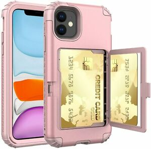 iPhone 11 Case,Wallet Credit Card Holder Protective Cover with Mirror &Kickstand
