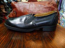 antik Herren Schuhe Slipper Halbschuhe Handmade Schwarz Leder 50er True Vintage