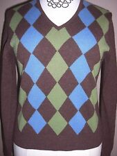 FOLIO Vintage Argyle Brown Blue Green V-Neck Cashmere Sweater Sz M Long Sleeve