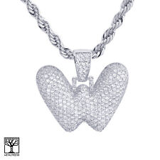 """W Initial Silver Plated Custom Bubble Letter Iced CZ Pendant 24"""" Chain Necklace"""