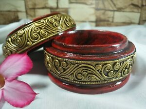 Vintage Box Round Shaped Northern Thai Style Handmade Trinket Storage Home Decor
