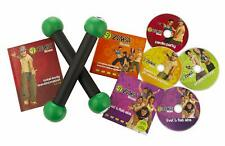 Zumba Fitness Total Body Transformation System Dvd 4 Disc Set & Book & Weights