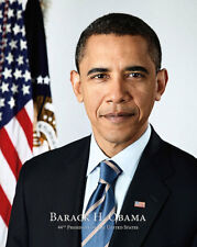 PRESIDENT BARACK OBAMA OFFICIAL PORTRAIT WITH NAME 11x14 SILVER HALIDE PHOTO