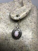 Vintage Handmade Genuine Pink Coral 925 Sterling Silver Dangle Earrings