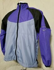 Vtg Nike Windbreaker Jacket Light Blue Purple Reflective Womens Medium 8-10