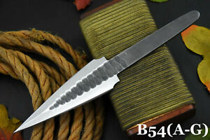 Hammered Spring Steel 5160 Blank Blade Dagger Hunting Knife, No Damascus (B54-C)