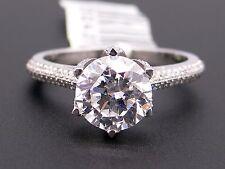 Platinum Round Diamond Halo Engagement Promise Ring Semi Mounting Size 6