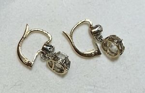 BO Dormeuses Trembleuses Anciennes 19ème Or massif 18k Antique Gold Earrings