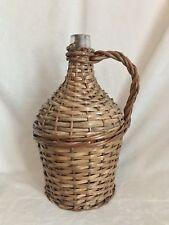 """Vintage French Glass Demijohn Wine Bottle Wicker Rattan, 13"""" Tall"""