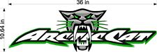 "Arctic Cat BITE Logo / GREEN / 36"" Huge Vinyl Snowmobile Trailer Graphic Sticker"