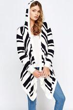 Women New Asymmetric Hood Mono Black&White Knit Striped Coat Cardigan Top Jacket