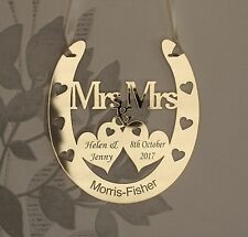 Personalised Mrs & Mrs Wedding Horseshoe Keepsake,Bridal GOLD FREE GIFT BAG