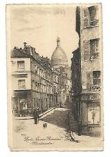 Antique Etching Leopold Robin Signed Postcard Paris La rue Norvins Montmartre