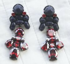 EK THONSPRASERT Silicone Drop Earrings Navy/Red Crystals